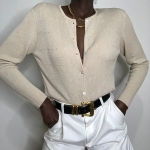 VINTAGE | AUGUST SILK silk rib knit cardigan